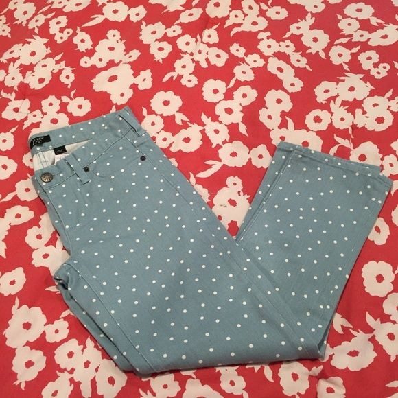 J.Crew Polka Dot Matchstick Skinny Jeans Polka dot matchstick skinny leg Jean that are brand new with tags!!! Super cute for spring to pair with rain boots or even a cute pair of strappy sandals.  They are a minty green/blue color but maybe a little more on the blue side! and the tag says ankle! J.Crew Factory Jeans Skinny