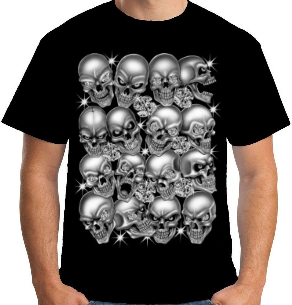 Velocitee Mens Bling Skulls T Shirt Evil Biker Motorcycle Skeleton Horror W13021 #Velocitee