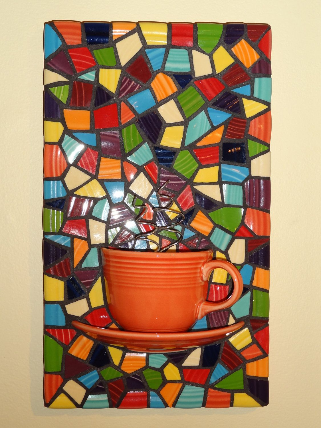 Mosaic seamist teacup and saucer with steam bright mosaic art