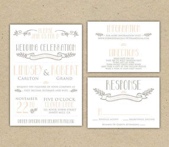 Printable Wedding Invitation and RSVP Template - Rustic DIY - vintage invitation template