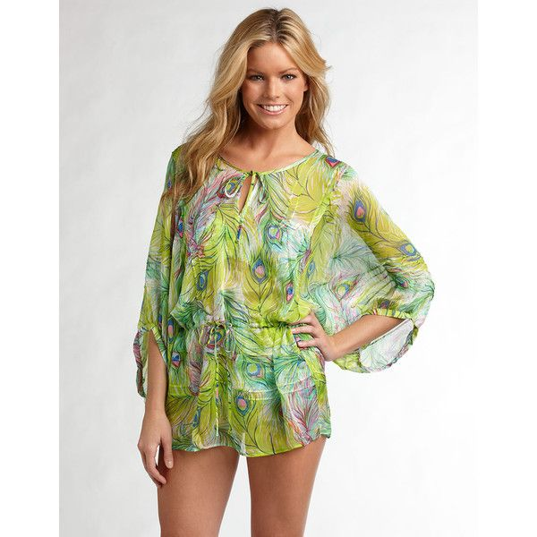 Nanette Lepore Peacock Print Silk Tunic Cover-Up ($86) ❤ liked on Polyvore featuring nanette lepore