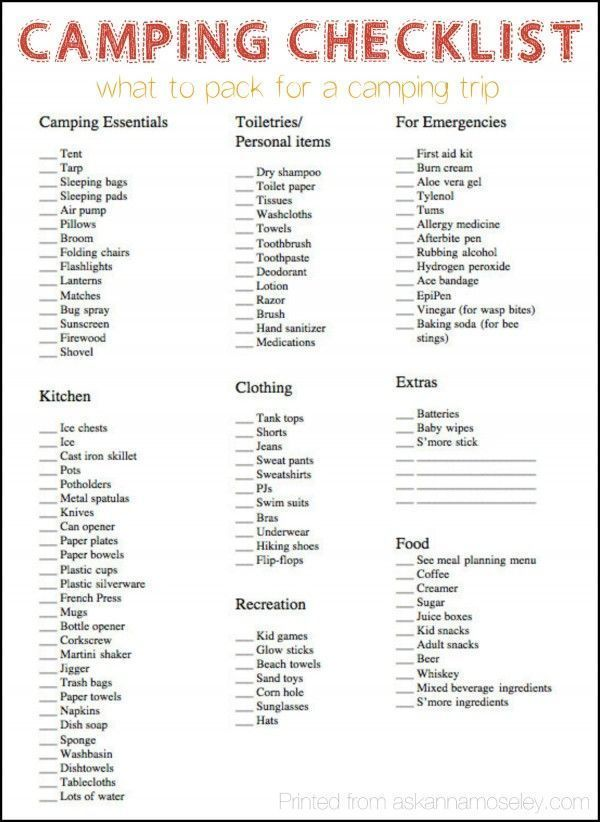 Camping Checklist What To Pack For A Camping Trip Ask