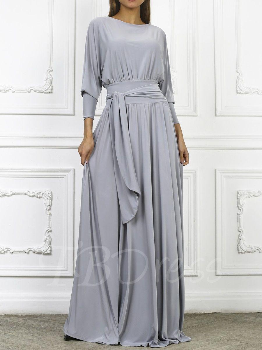 Gray Batwing Sleeve Women\'s Maxi Dress