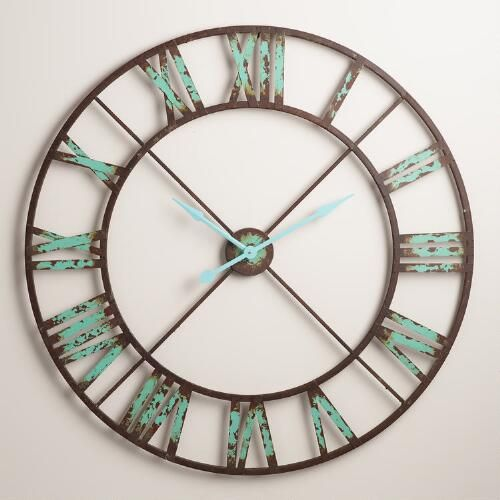 Industrial Reed Wall Clock Brown Green By World Market