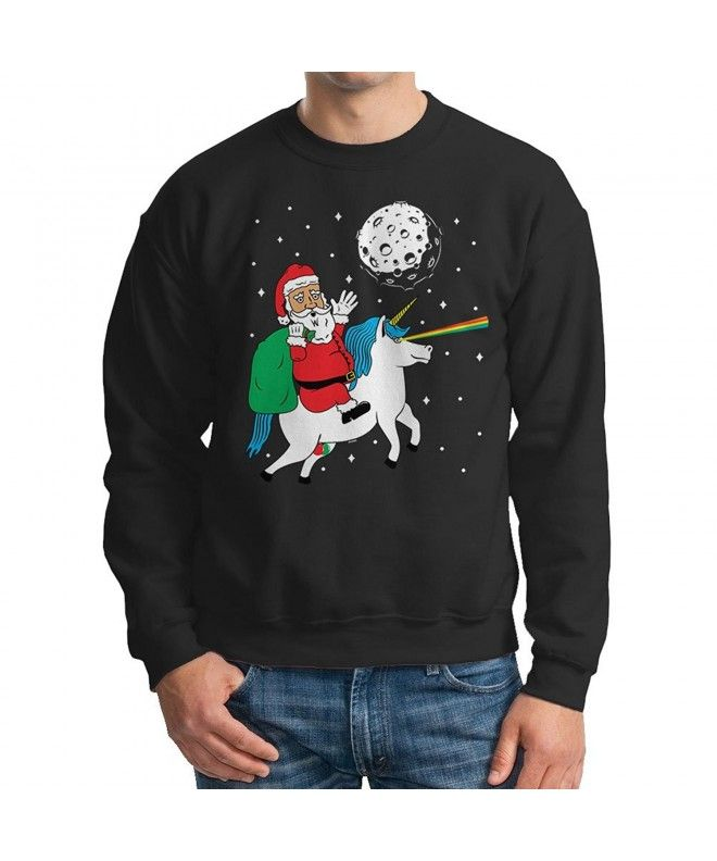 572c933c0cf Mens Santa Riding Unicorn - Ugly Christmas Sweater Crewneck Sweatshirt -  Black - CJ12MZXDMBT