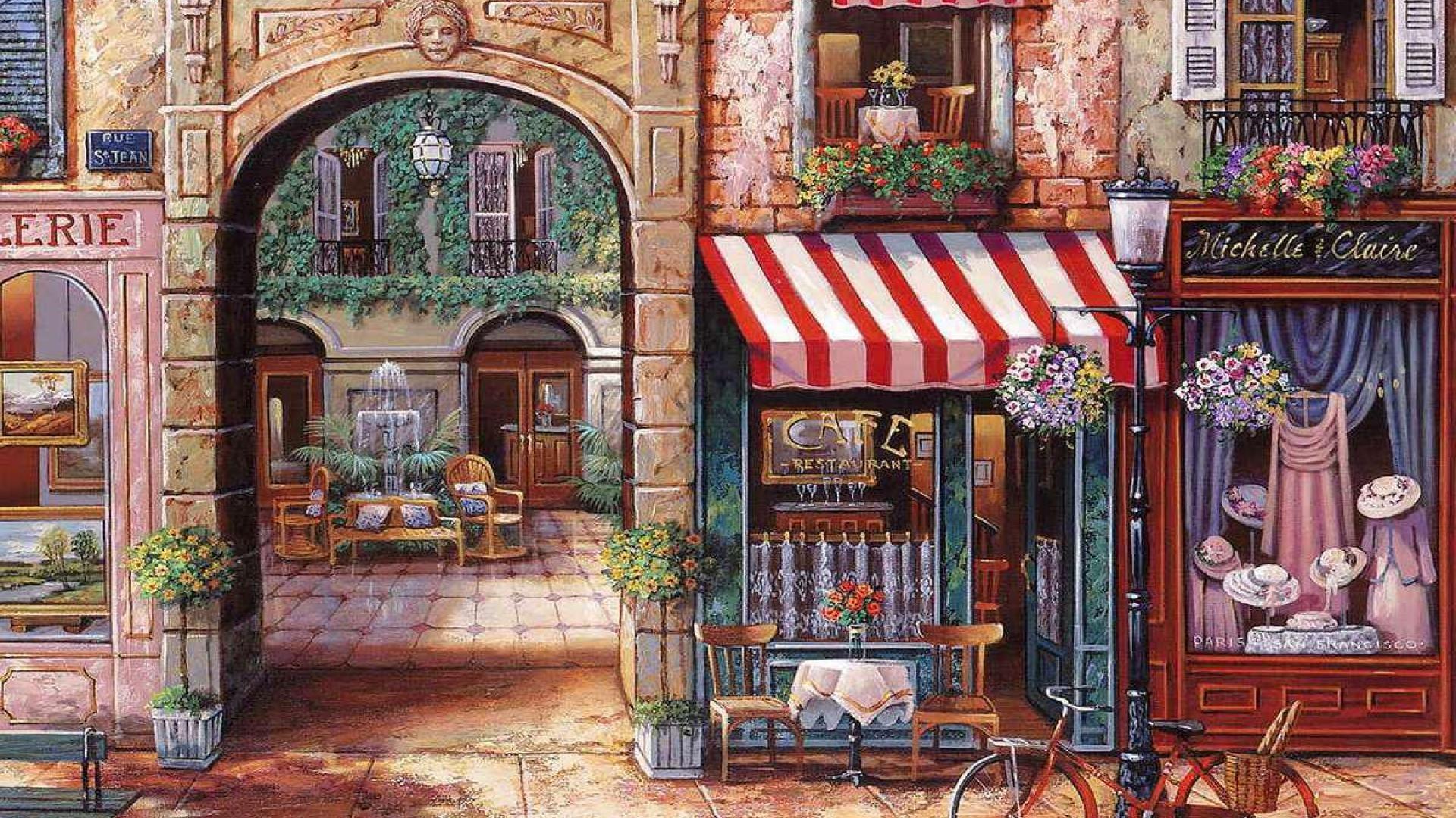 Maison Du Puzzle Paris paris cafe wallpaper | city painting, painting, mural