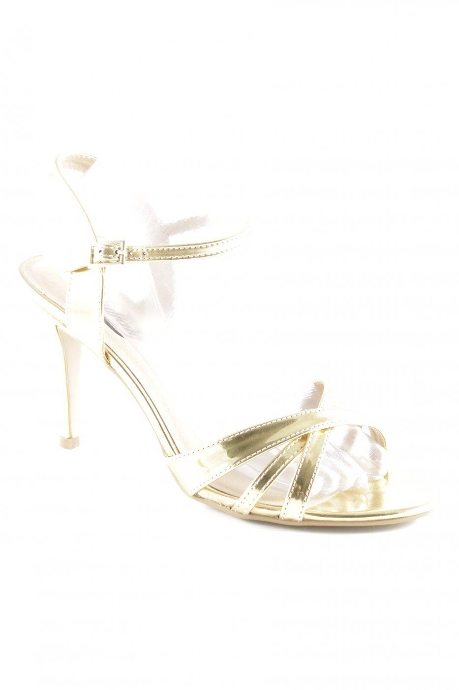 Buffalo London Riemchen-Sandaletten goldfarben extravaganter Stil | Mädchenflohmarkt