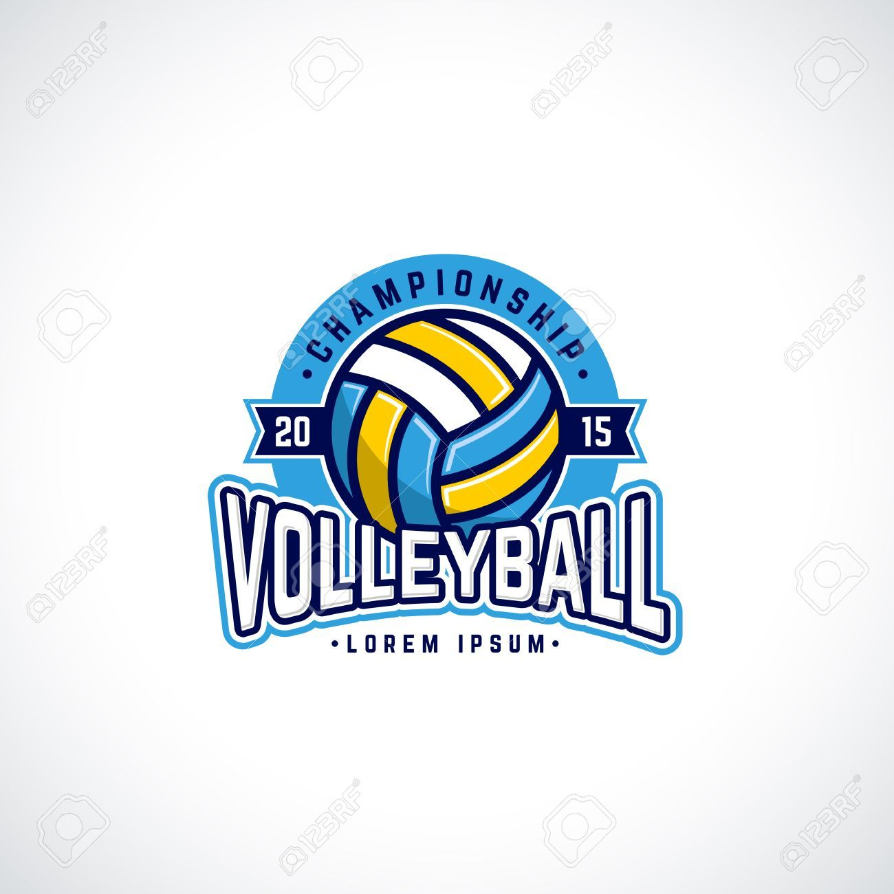Vector Volleyball Championship Logo With Ball Sport Badge For Tournament Or Championship Illustration Ad Championship Logo Vector Volleyball Ball