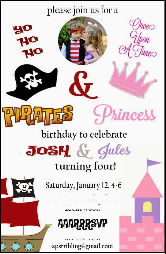 Princess and pirates birthday party invitation 4th birthday princess and pirates birthday party invitation filmwisefo Choice Image