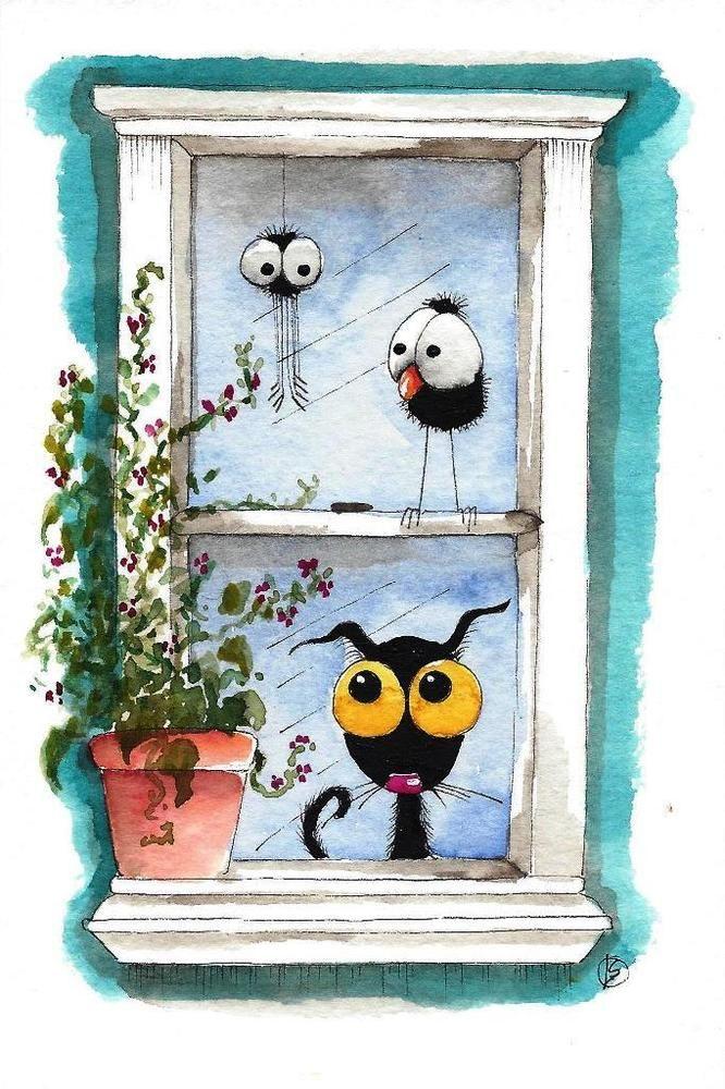 Original watercolor painting whimsical Stressie Cat bird crow pot plant window…