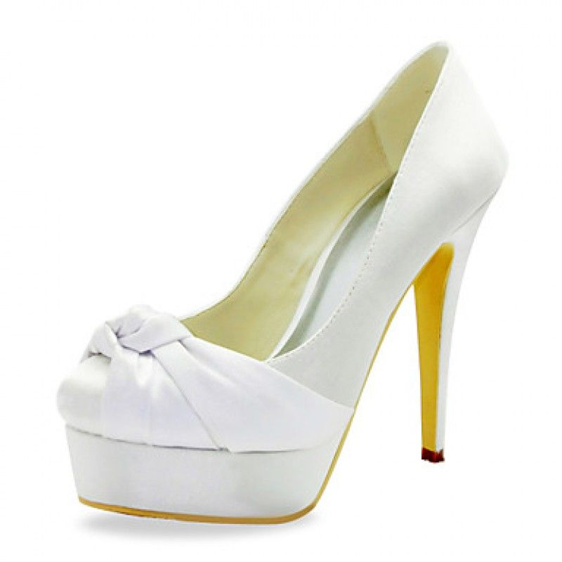 Gorgeous Satin Stiletto Heel Pumps With Ruffles Wedding Shoes For Women