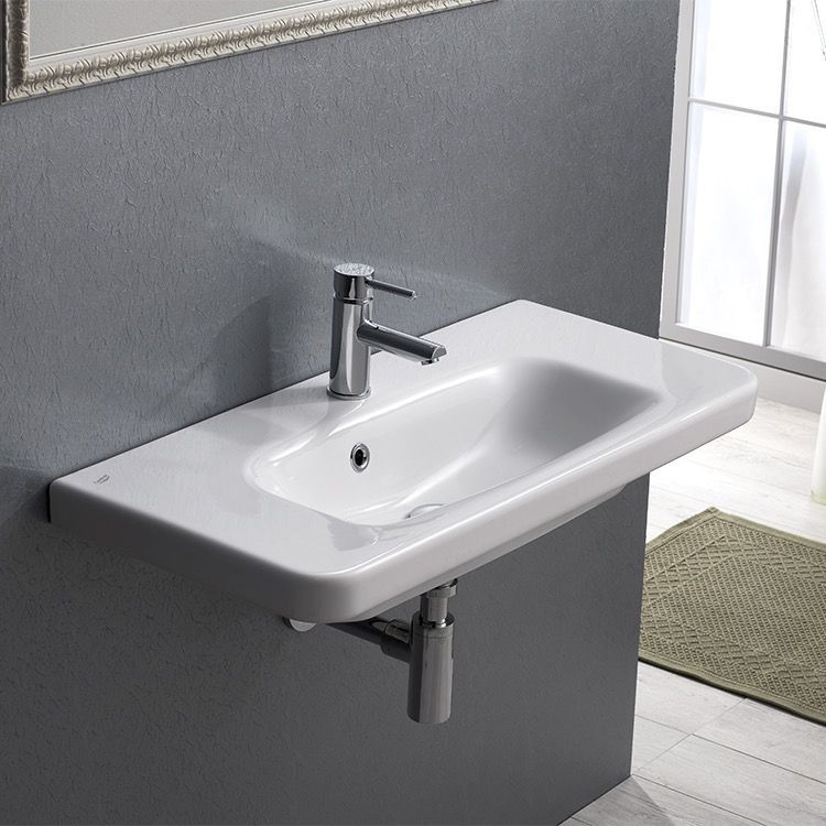 Rectangle White Ceramic Wall Mounted Sink Or Drop In Sink Drop