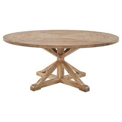 Sierra Round Farmhouse Pedestal Base Wood Dining Table 72 Vintage Pine Inspire Q Large Round Dining Table Wood Dining Table Dining Table