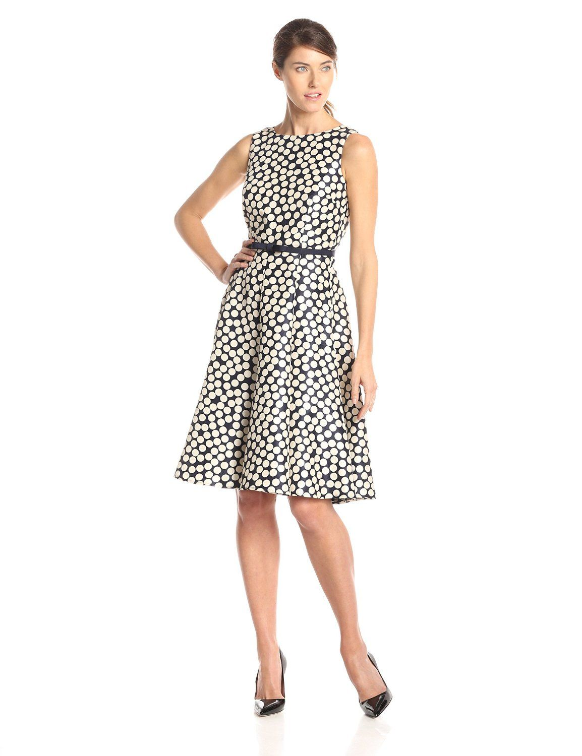 Sleeveless Polka Dot Fit and Flare Dress by Julian Taylor