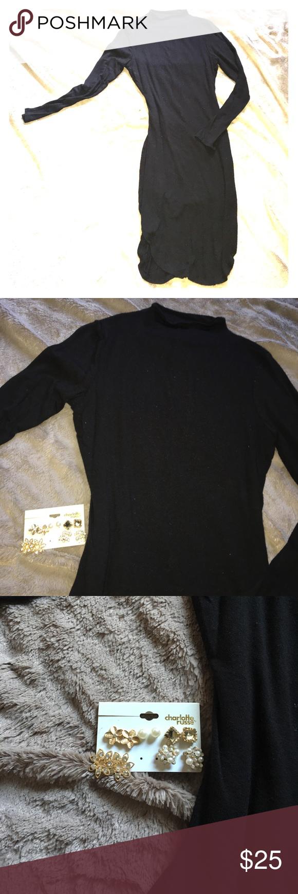 Long sleeve bodycon dress w earring bundle bodycon dress