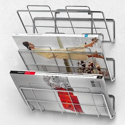 Spectrum Diversified 3 Tier Wall Mount File Holder With Screws In Chrome Junk Mail Sorter Magazine Rack Wall File Holder Wall Racks