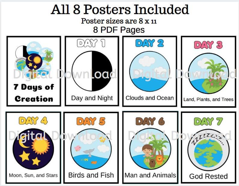 The 7 Days Of Creation Posters Printables Days Of Creation Etsy 7 Days Of Creation Days Of Creation Creation Activities