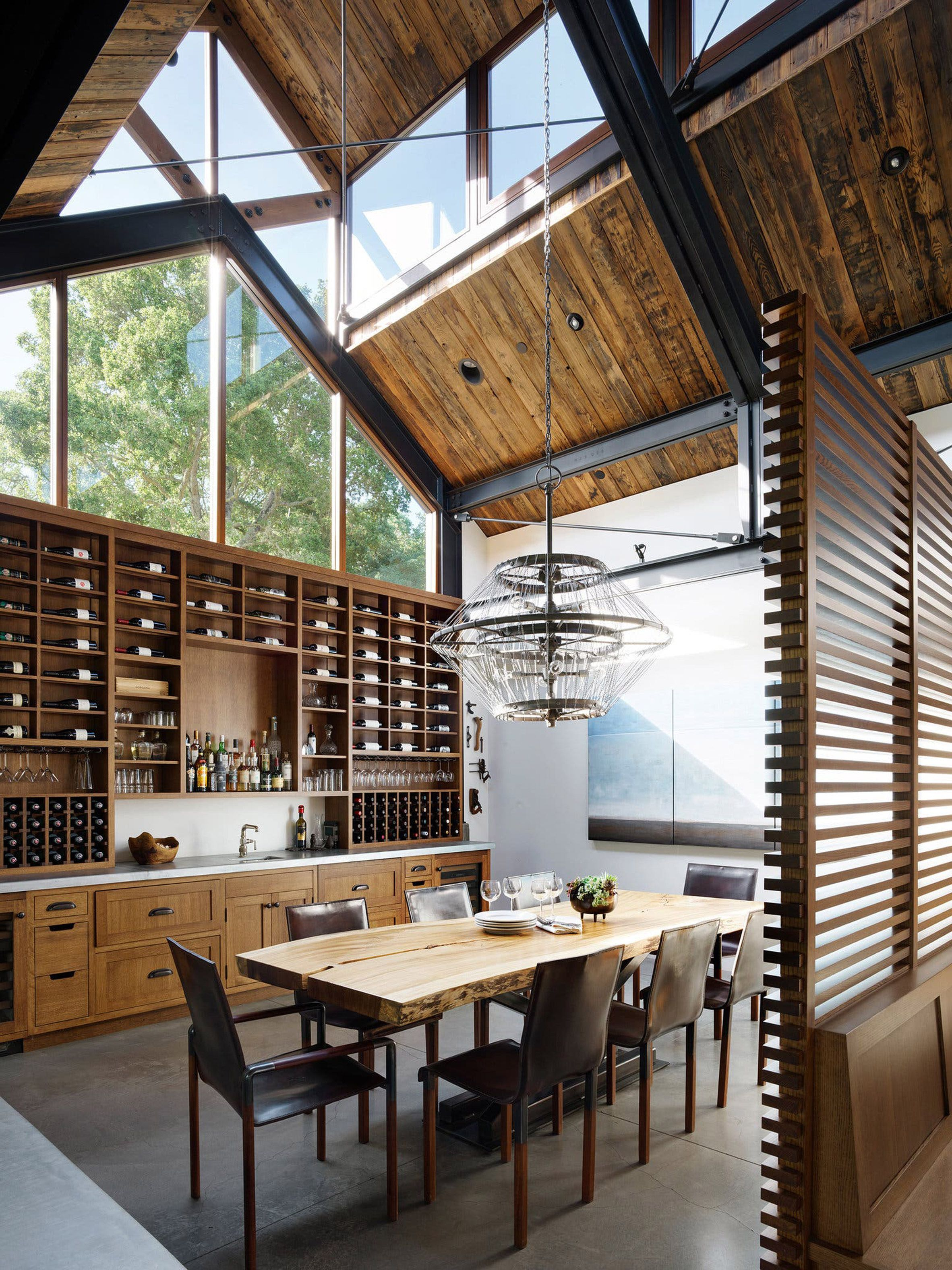 Dining Space Behind A Partition And Under A High Vaulted Ceiling With Clerestory Windows Portola Valley San Mateo County Ca In 2020 Ranch House Clerestory Windows Home