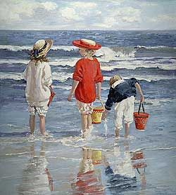 High Tide by Sally Swatland - 40 x 36 inches Signed impressionist beach scenes children playing contemporary american chase pothast