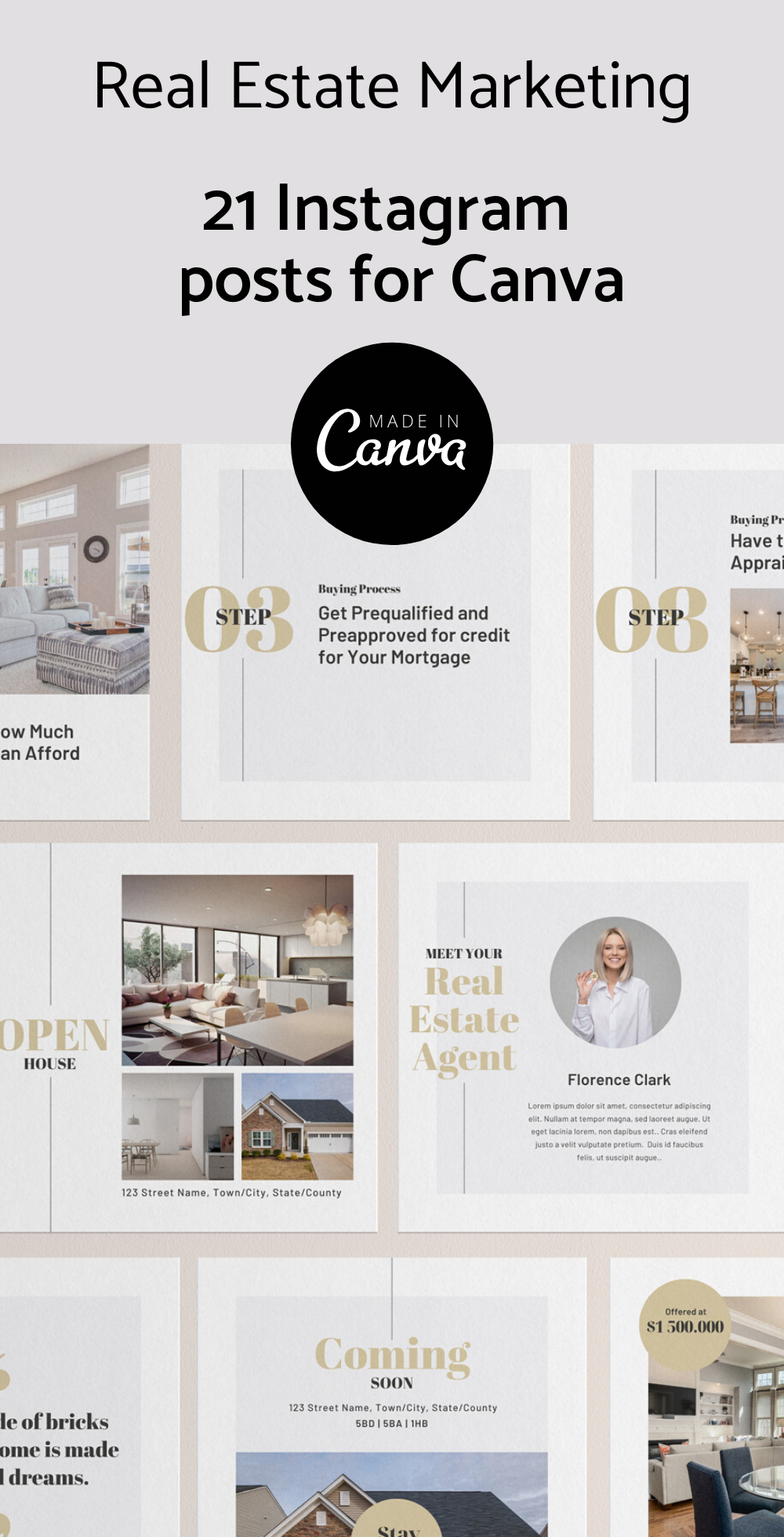 Real Estate Instagram posts, Canva Social Media, Real Estate Marketing, Canva Instagram Post, Canva