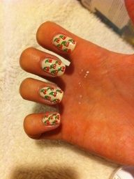 I saw a video on youtube on how to do this, I was happy that it turned out good. Dont mind the mess. :) If you wanna see the video or other nail design ideas go to www.youtube.com/u...