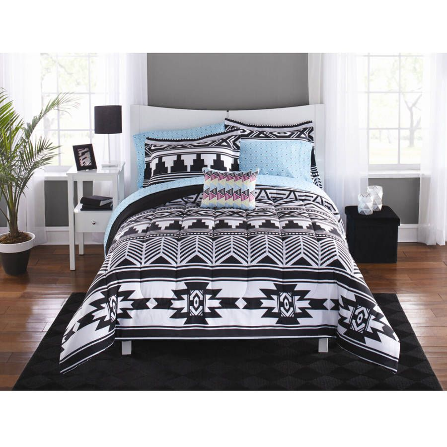 Mainstays Tribal Black and White Bed in a Bag Bedding Set - Walmart.com