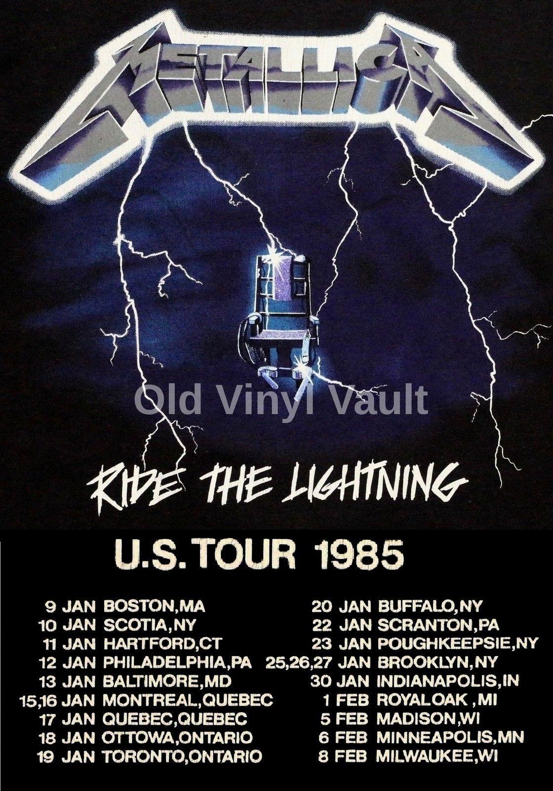 Metallica Concert Poster Ride The Lightning Us Tour 85 A3