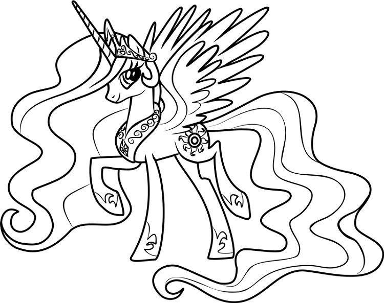 Princess Celestia Coloring Pages My Little Pony Coloring Princess Drawings Unicorn Coloring Pages