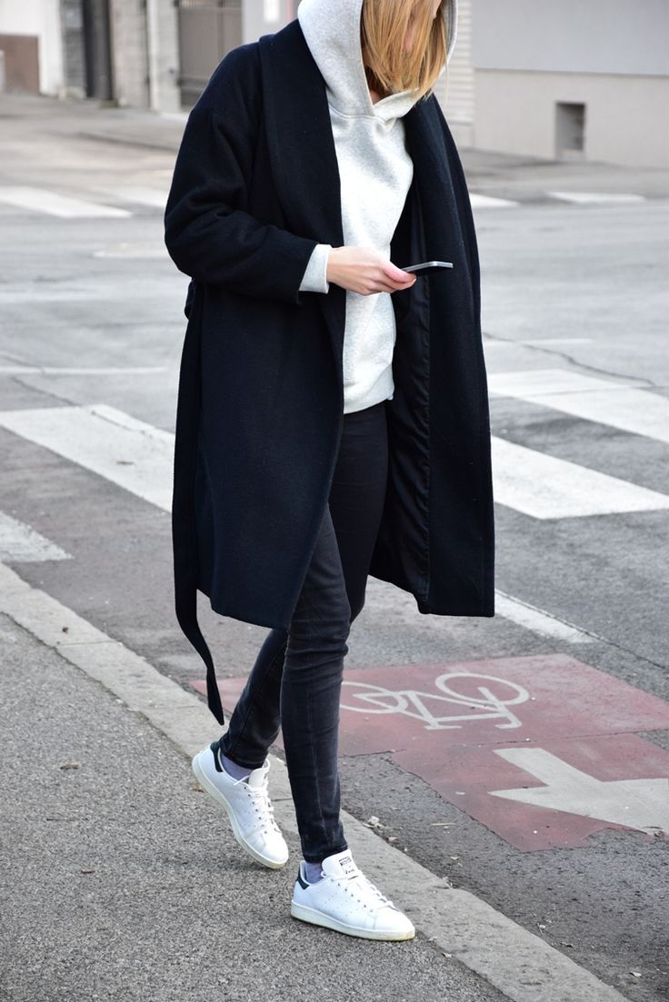 minimal relaxed, hoodie with coat, adidas Stan Smith outfit, katiquette #adidasclothes