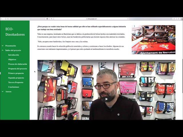 """Descripción de nuestra site sobre ecodiseño, especializado en ecopackaging en respuesta a un proyecto para la asignatura de """"Recursos y comunidades digitales aula 1""""."""