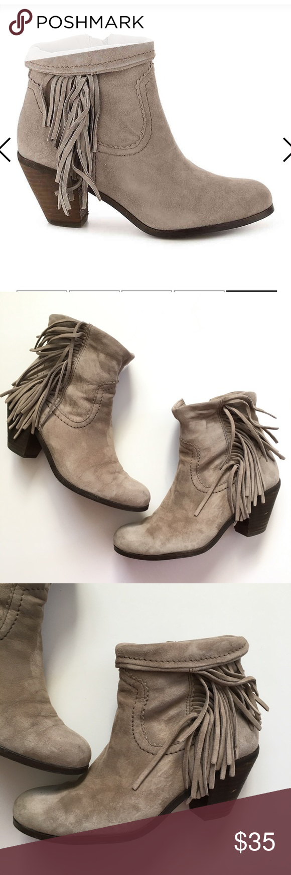 099022e736ff87 Sam Edelman Louie suede fringe bootie Gently used. Size 6. Tan suede. Can  be worn rolled up or down. Sam Edelman Shoes Ankle Boots   Booties