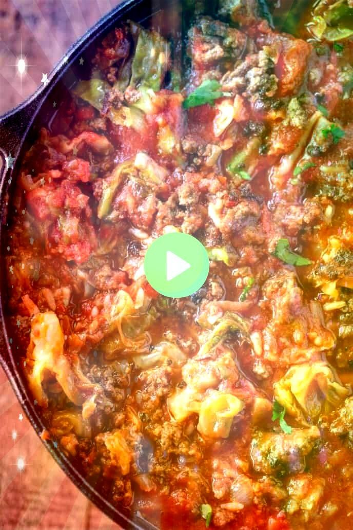 Cabbage Soup is hearty filling and tastes just like cabbage rolls made with ground beef cabbage and rice in a savory tomato base ready in under 45 minutesStuffed Cabbage...