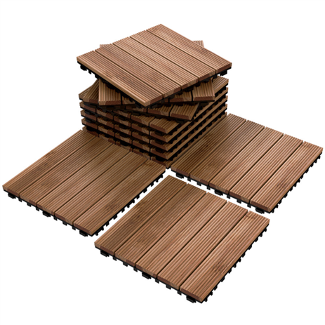 Topeakmart Patio Pavers Decking Flooring Deck Tiles 12 X 12 Interlocking Outdoor Indoor Wood Tiles 11pcs Walmart Com In 2020 Outdoor Flooring Patio Tiles Paver Patio