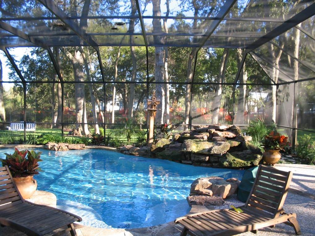 Potential Pool Design With Full Screen Enclosure Pool Houses