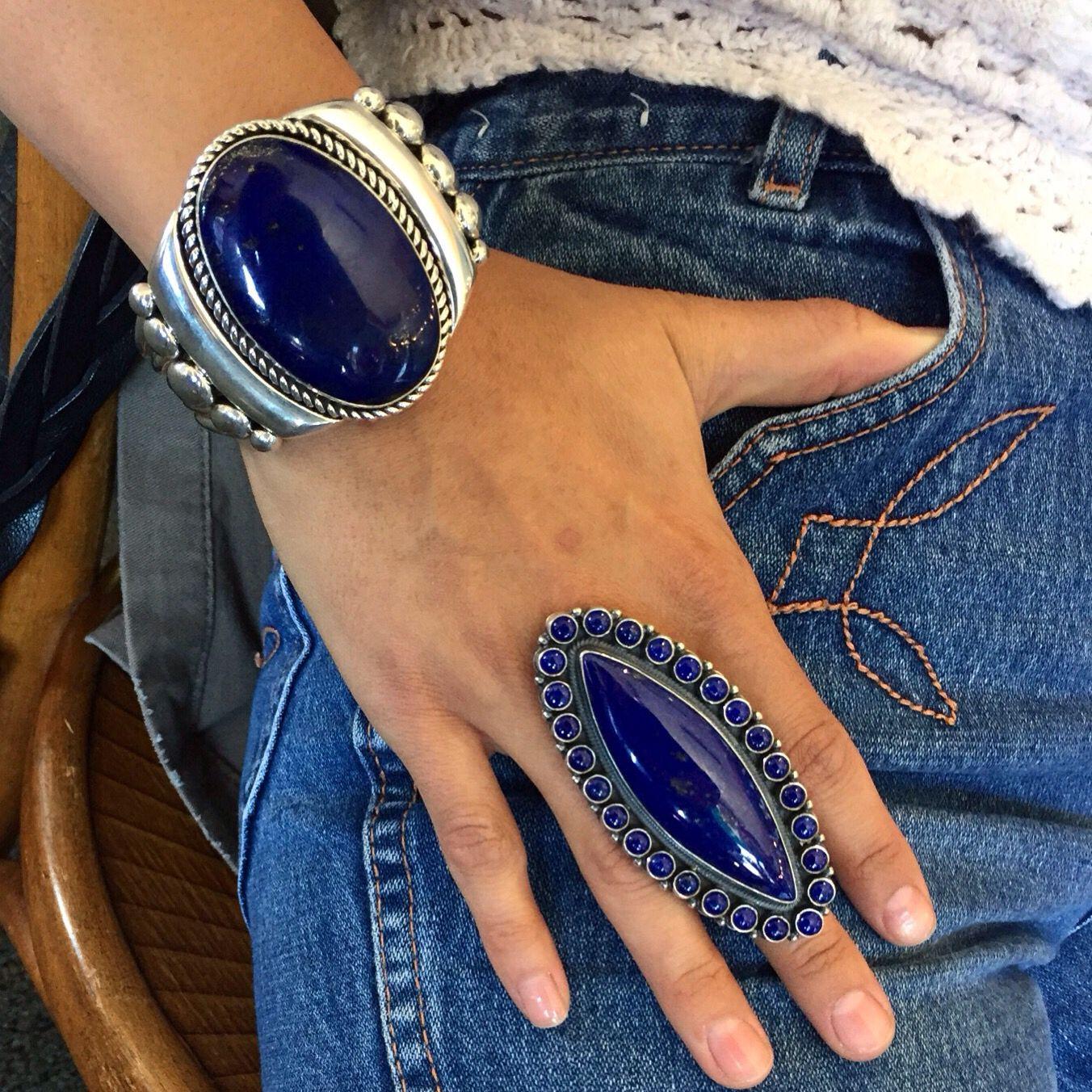 Monday Blues.....lapis bracelet by Navajo artist, Albert Lee and lapis ring by Navajo artist, Gloria Begay.....stunning combo with denim!!!