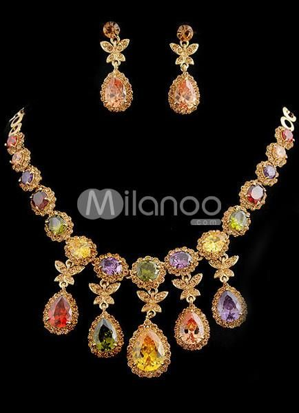 Unique Rhinestone Metal Jewel Set. Necklace length 420mmEarring size 40*15mmPendant Length 50mm. See More Wedding Jewelry Sets at http://www.ourgreatshop.com/Wedding-Jewelry-Sets-C924.aspx