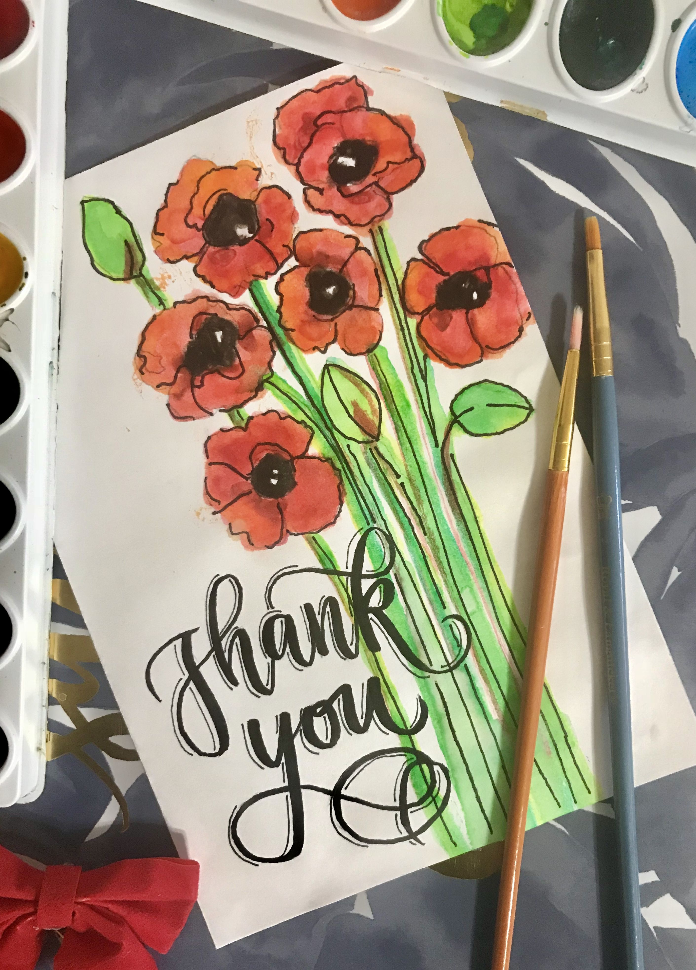 Watercolor Painting Of Flowers With Calligraphy Brush Pen Thank