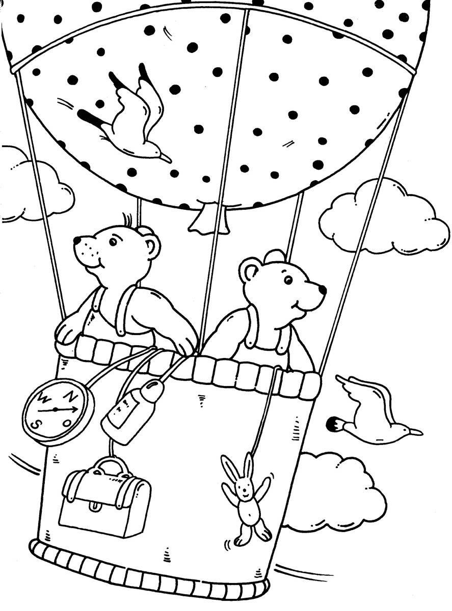 Ausmalbild Urlaub und Reisen: Ausflug im Fesselballon kostenlos