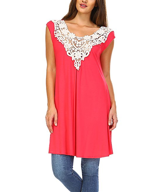 Coral & White Lace-Accent Sleeveless Tunic - Plus