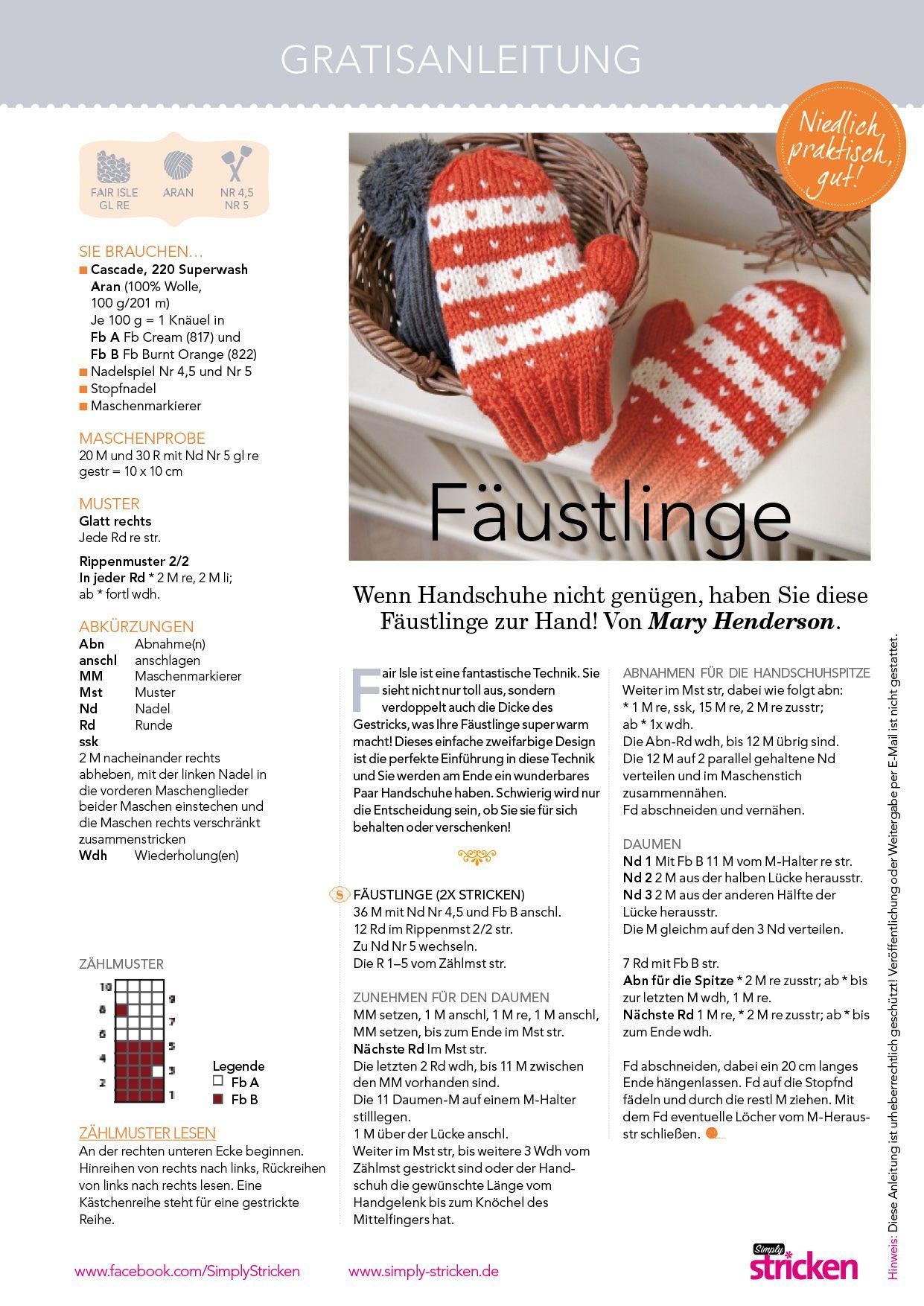 niedliche Fäustlinge - Kostenlose Strickanleitung 011 © Simply ...