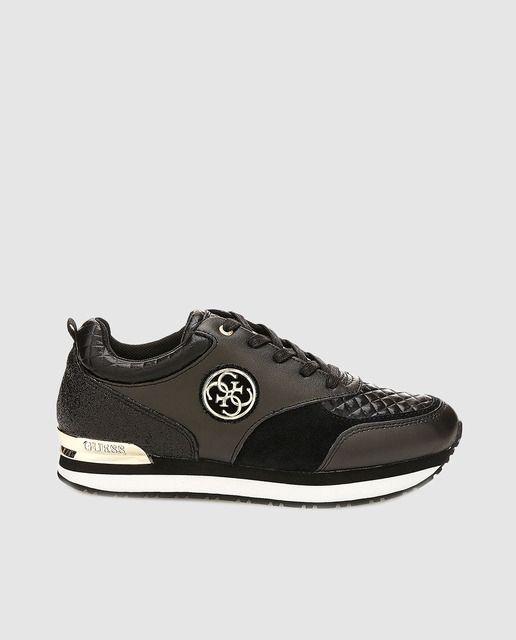 Guess Zapatillas con Cordones Para Mujer, Negro (EUR 40, Negro)