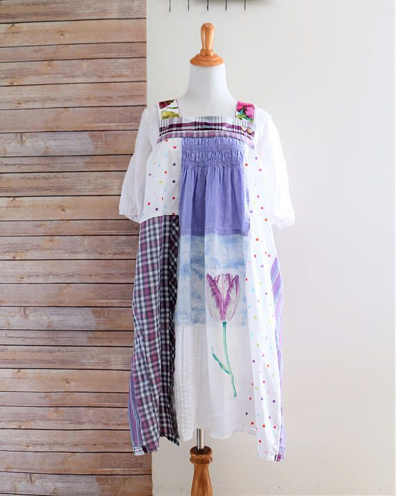 Ladies Cotton Patchwork Sleeveless Adjustable Length Summer Pinafore Boho Dress