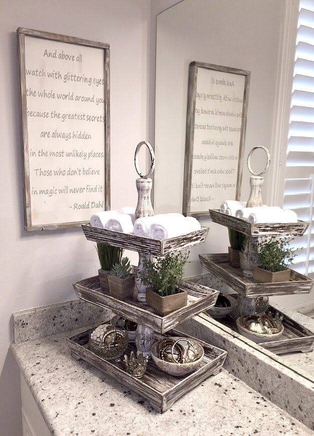 Bathroom Organization Ideas: A Tiered Tray To Organize Bath Towels And  Toiletries Right On The