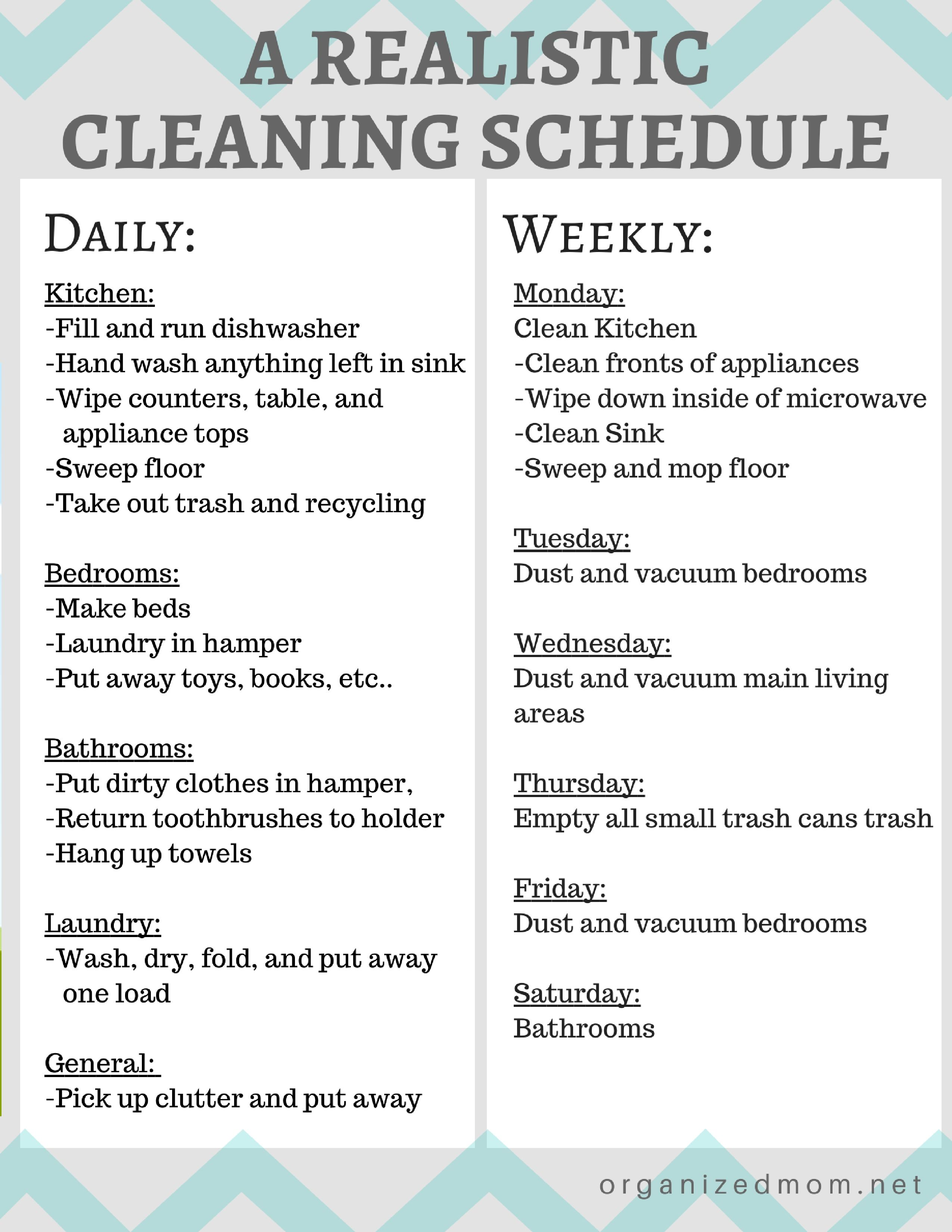 Realistic Cleaning Chart 2