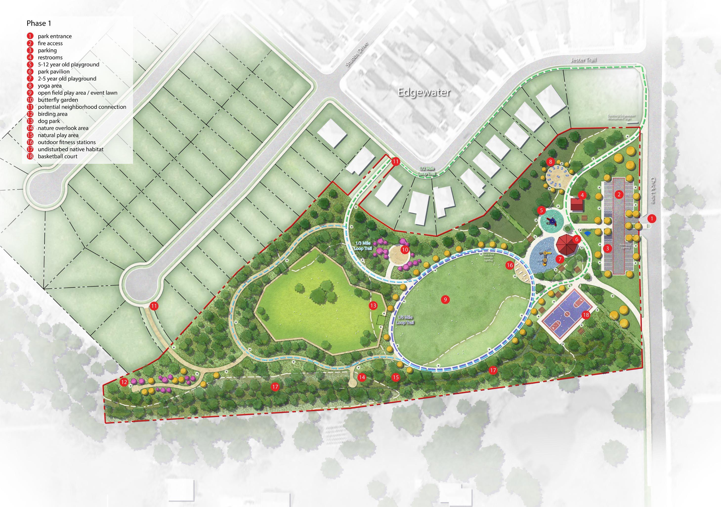 Community park plan rendering landscape architecture for Park landscape design