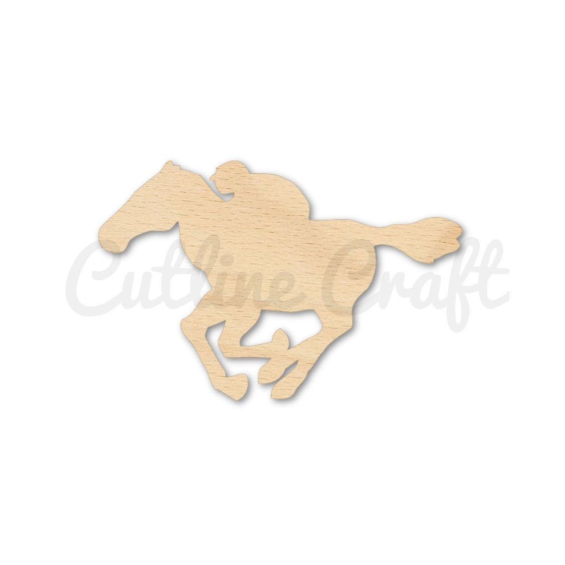 Race Horse 2 Style 2262 Cutout Shapes Crafts Gift Tags Ornaments Laser Cut Birch Wood Various Sizes