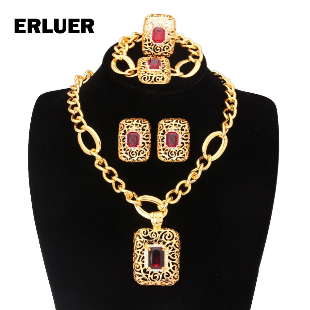 Women jewelry sets dubai gold color african nigerian luxury wedding