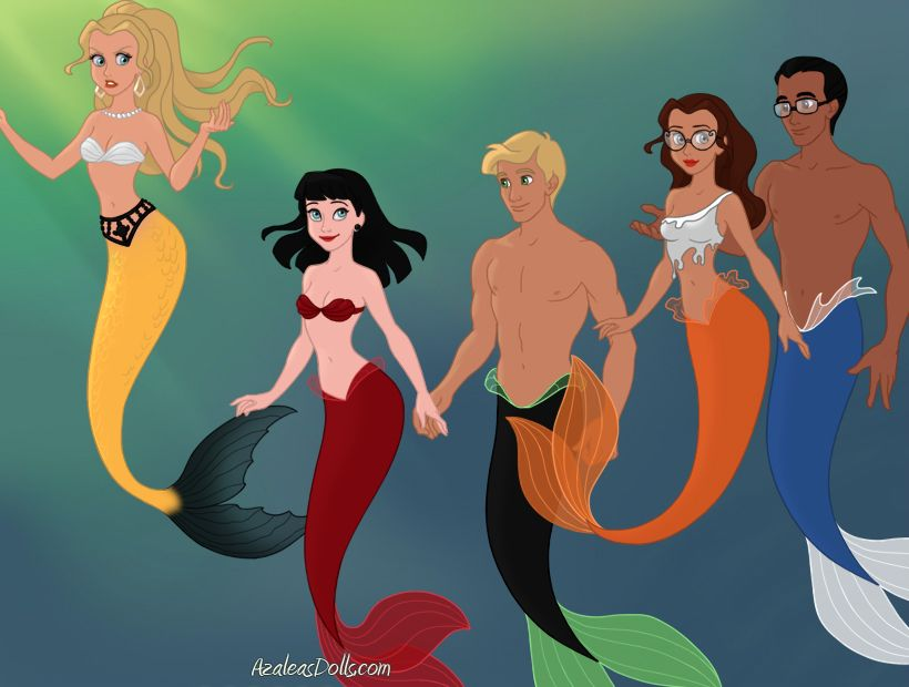 Marinette, Adrien, Alya, Nino and Chloe  Mermaid form