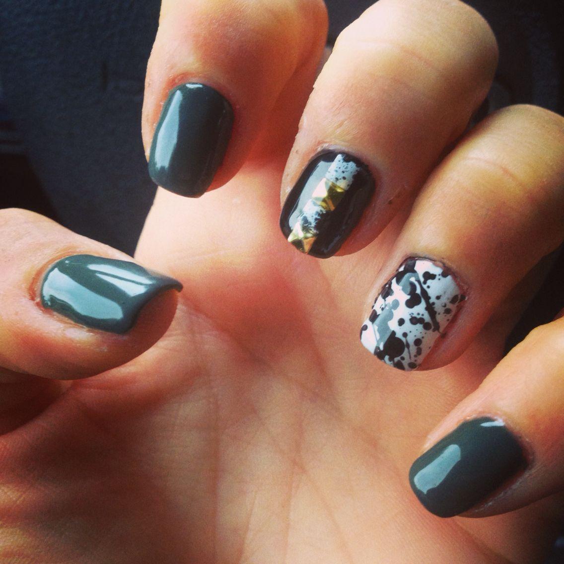 Splatter paint and stud manicure courtesy of Diva Nails, Mineola, NY ...