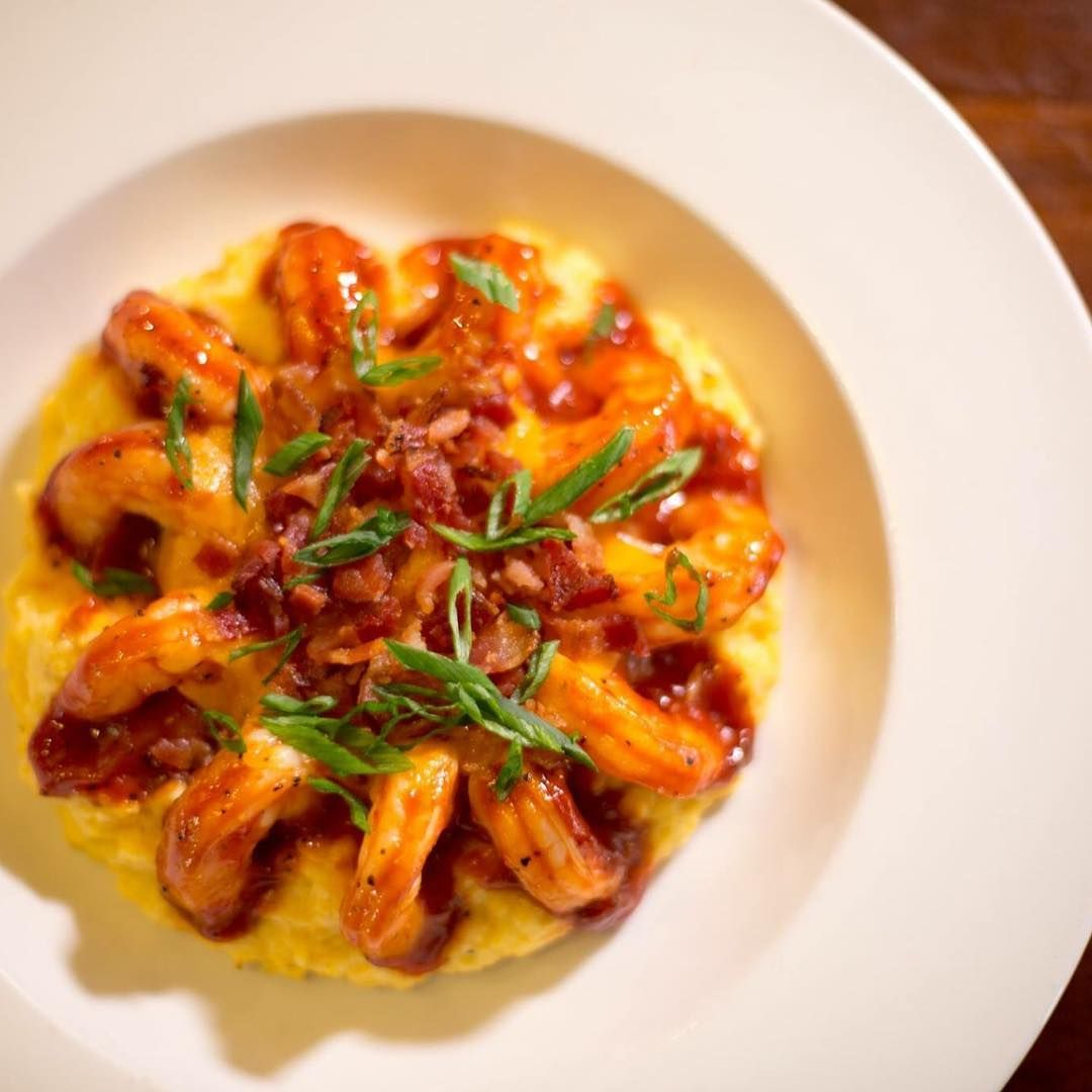 Bbq shrimp and grits from 82 queen in charleston south